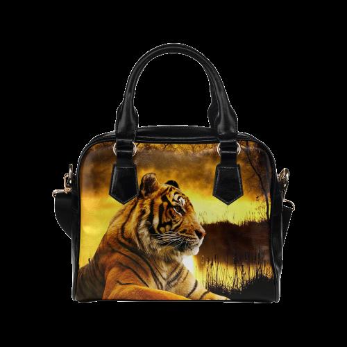 Tiger and Sunset Shoulder Handbag (Model 1634)