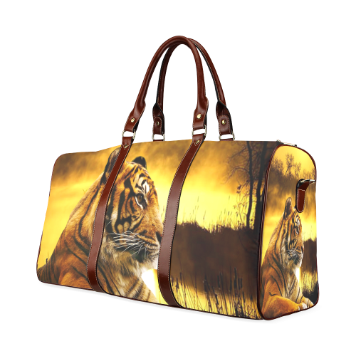 Tiger and Sunset Waterproof Travel Bag/Large (Model 1639)