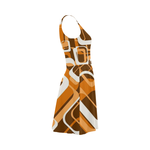 retro pattern 1971 orange Atalanta Sundress (Model D04)