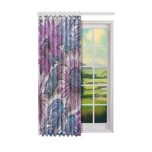 "plastic flowers Window Curtain 52"" x 84""(One Piece)"
