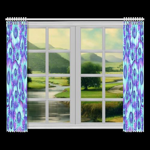 "flashy blue flowers Window Curtain 52""x84""(Two Pieces)"