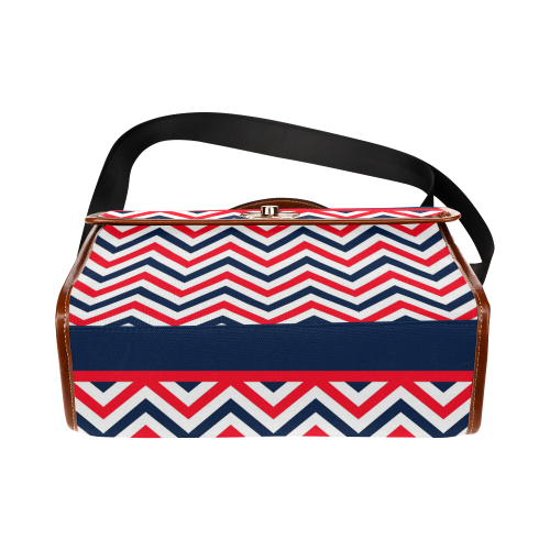 red blue white strips and navy anchor Waterproof Canvas Bag/All Over Print (Model 1641)