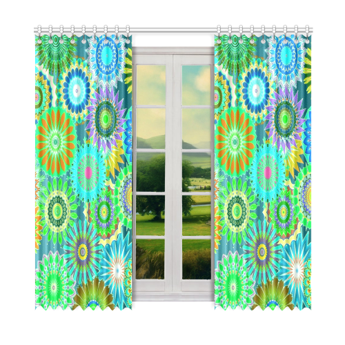 "Funky flowers green Window Curtain 52"" x 84""(One Piece)"
