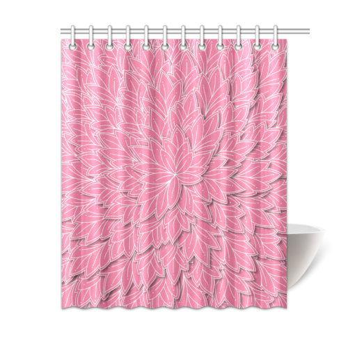 """floating leaf pattern pink white Shower Curtain 60""""x72"""""""