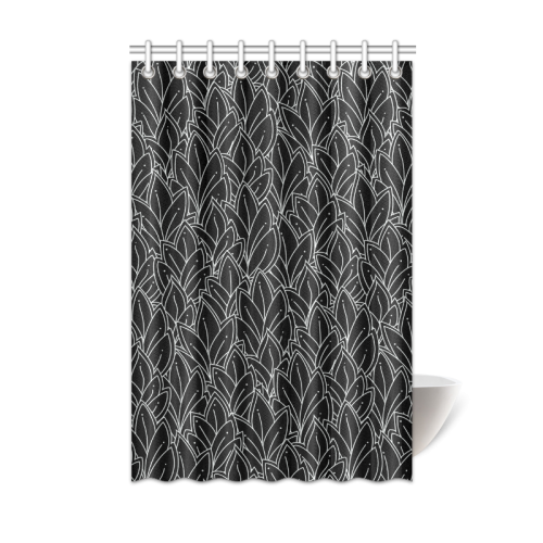 Black Doodle Leaf Pattern Shower Curtain sizes