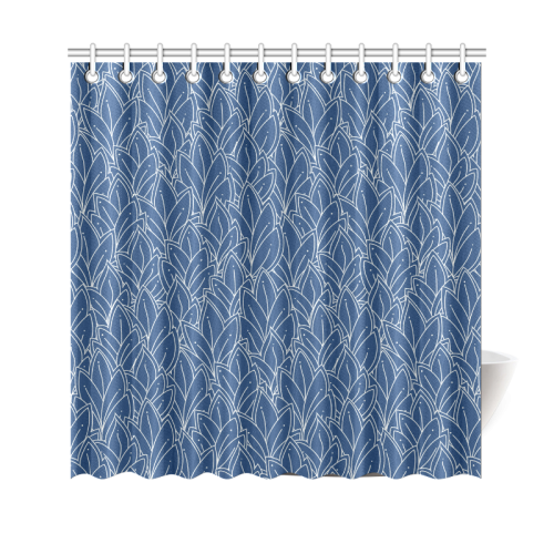 "doodle leaf pattern navy blue & white Shower Curtain 69""x70"""