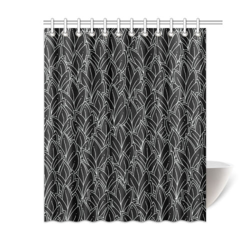 "doodle leaf pattern black & white Shower Curtain 60""x72"""