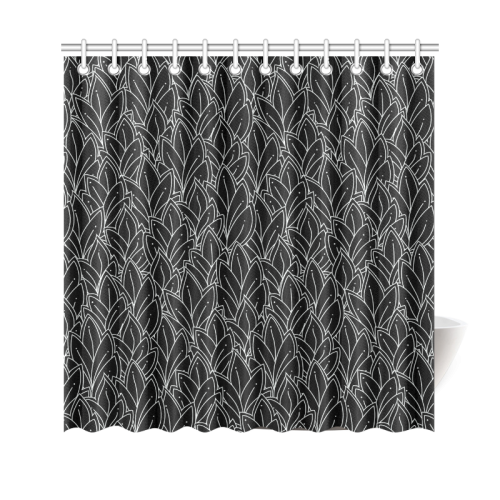 "doodle leaf pattern black & white Shower Curtain 69""x70"""