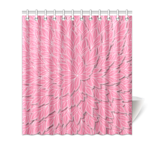 """floating leaf pattern pink white Shower Curtain 66""""x72"""""""