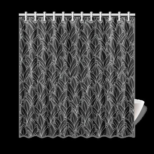 "doodle leaf pattern black & white Shower Curtain 69""x72"""