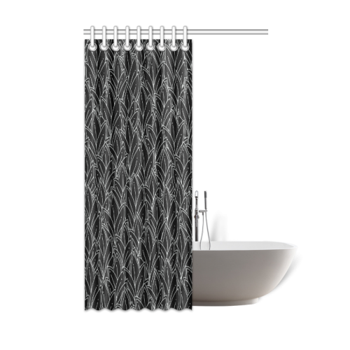 "doodle leaf pattern black & white Shower Curtain 48""x72"""