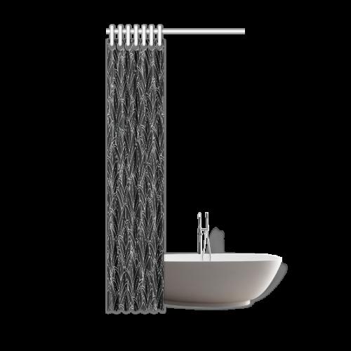 "doodle leaf pattern black & white Shower Curtain 36""x72"""