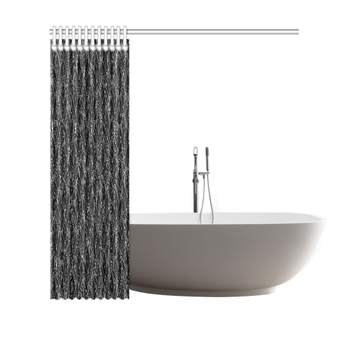 "doodle leaf pattern black & white Shower Curtain 69""x70"""