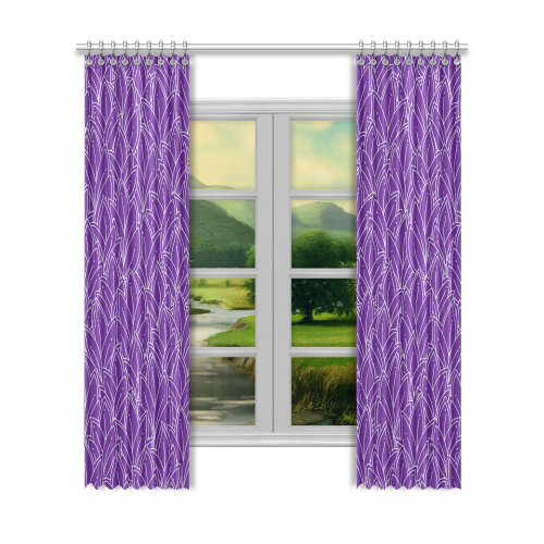 "doodle leaf pattern royal purple white Window Curtain 52""x120""(Two Piece)"