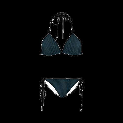Turquoise Glitter Stripe Custom Bikini Swimsuit