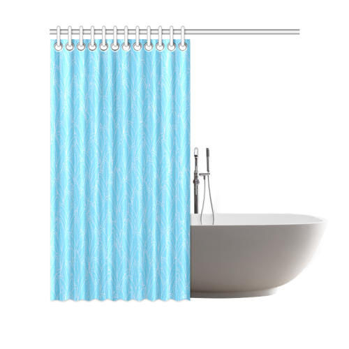 """doodle leaf pattern bright blue & white Shower Curtain 69""""x70"""""""