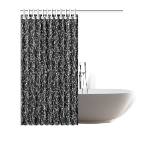 "doodle leaf pattern black & white Shower Curtain 72""x72"""