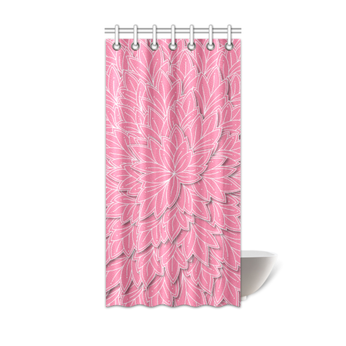 """floating leaf pattern pink white Shower Curtain 36""""x72"""""""
