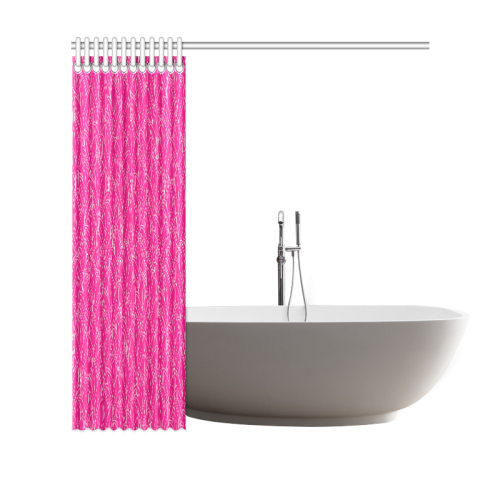 "doodle leaf pattern hot pink & white Shower Curtain 69""x70"""