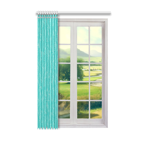 """doodle leaf pattern turquoise teal white Window Curtain 50"""" x 84""""(One Piece)"""
