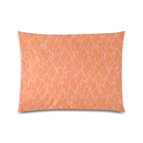 """doodle leaf pattern orange white Custom Picture Pillow Case 20""""x26"""" (one side)"""