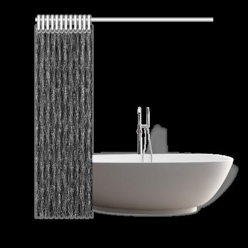 "doodle leaf pattern black & white Shower Curtain 66""x72"""