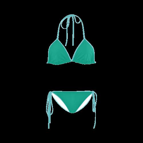 Peacock Green Color Accent Custom Bikini Swimsuit