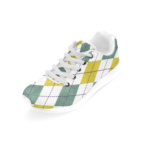 ARGYLE GOLD AND GREEN Men's Running Shoes (Model 020)
