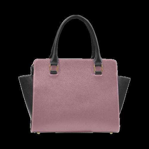 Crushed Berry Color Accent Rivet Shoulder Handbag (Model 1645)