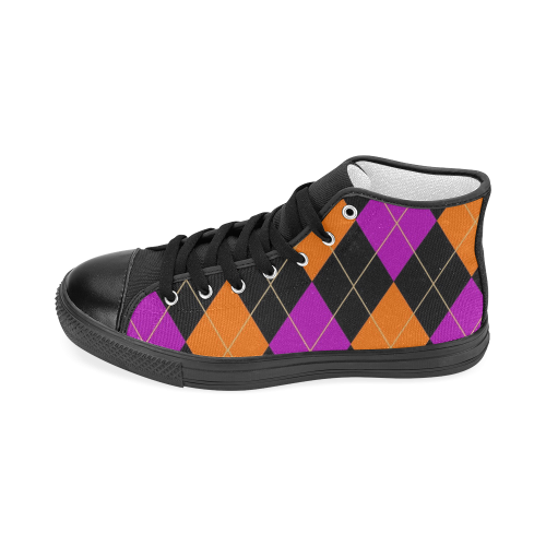 ARGYLE ORANGE AND PURPLE Men's Classic High Top Canvas Shoes (Model 017)