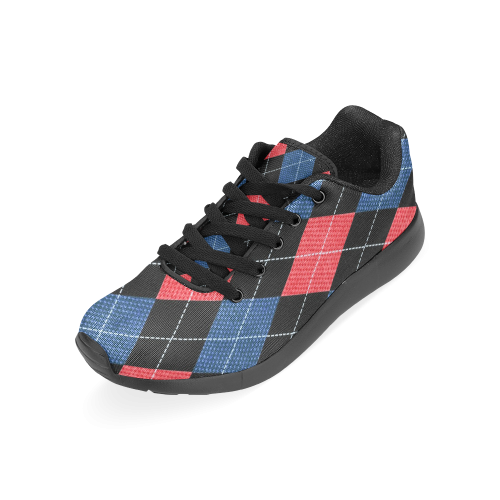 ARGYLE RED AND BLUE Men's Running Shoes (Model 020)