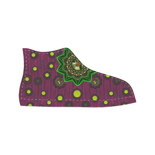Among stars a dove a fender in peace and leather Women's Classic High Top Canvas Shoes (Model 017)