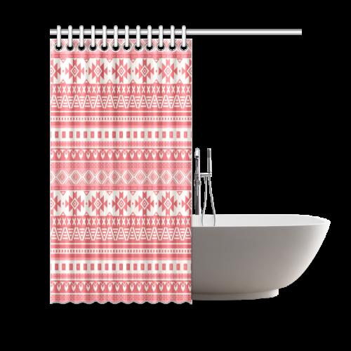 "fancy tribal border pattern 08 red Shower Curtain 69""x70"""