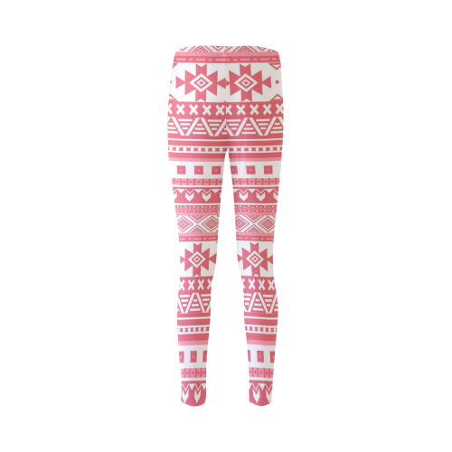 fancy tribal border pattern 08 red Cassandra Women's Leggings (Model L01)