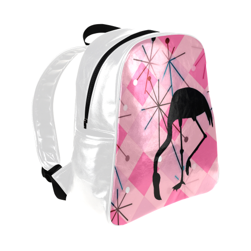Midcentury Modern Atomic Starburst Diamond Pattern Flamingo Pink Multi-Pockets Backpack (Model 1636)