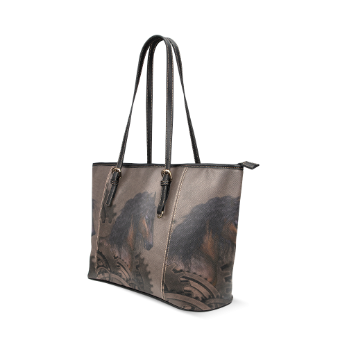 Steampunk Horse Leather Tote Bag/Small (Model 1640)