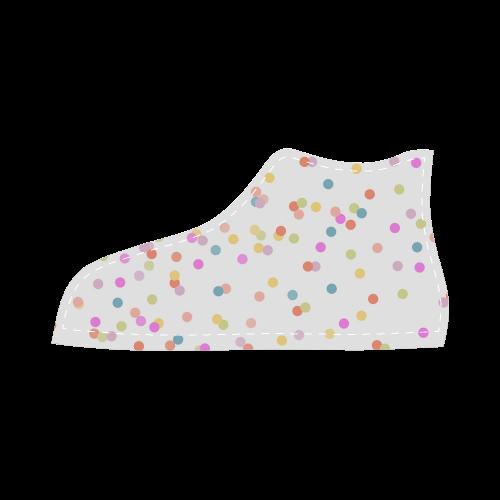 Retro Polka Dots High Top Canvas Kid's Shoes (Model 002)