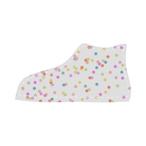 Retro Polka Dots Velcro High Top Canvas Kid's Shoes (Model 015)
