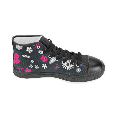 floral twist 416C Men's Classic High Top Canvas Shoes (Model 017)