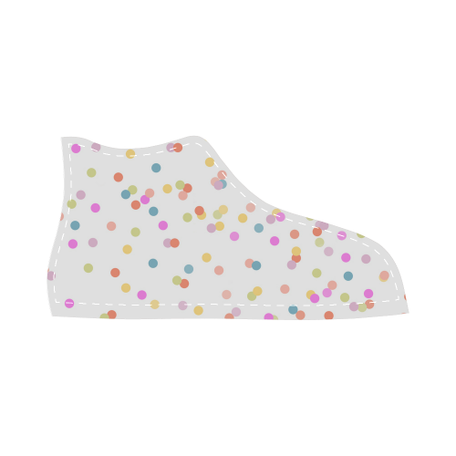 Retro Polka Dots High Top Canvas Kid's Shoes (Model 002)