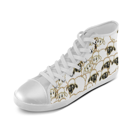 silly sheep High Top Canvas Kid's Shoes (Model 002)