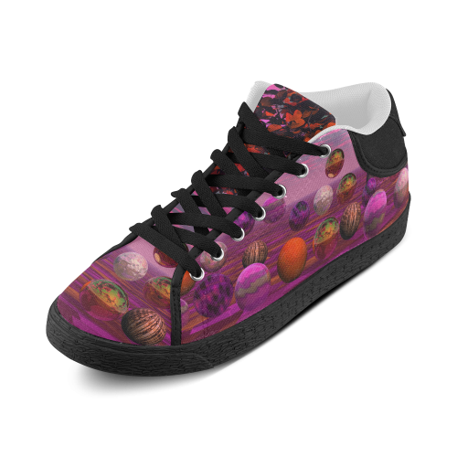 Bittersweet Opinion, Abstract Raspberry Maple Tree Women's Chukka Canvas Shoes (Model 003)