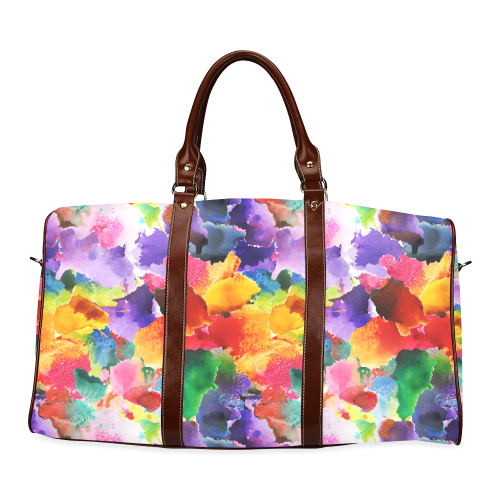 vibrant flower watercolor Waterproof Travel Bag/Small (Model 1639)