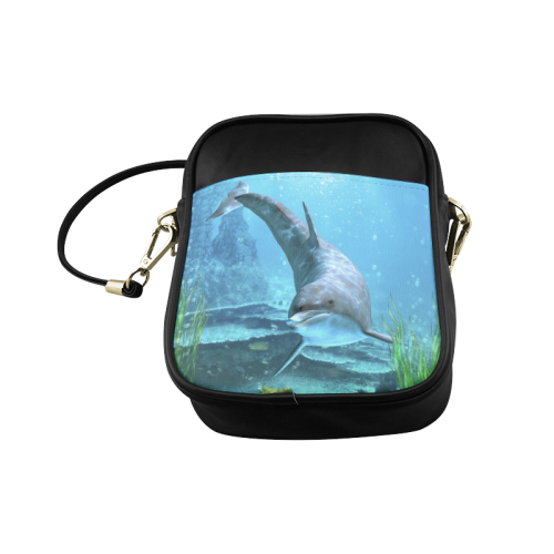 A proud dolphin swims in the ocean Sling Bag (Model 1627)