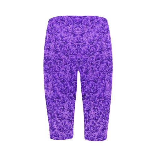 Vintage Floral Lace Leaf Amethyst Purple Hestia Cropped Leggings (Model L03)