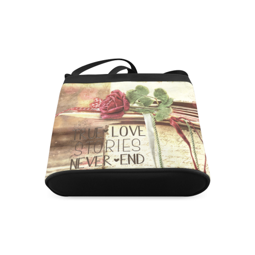 True love stories never end with vintage red rose Crossbody Bags (Model 1613)