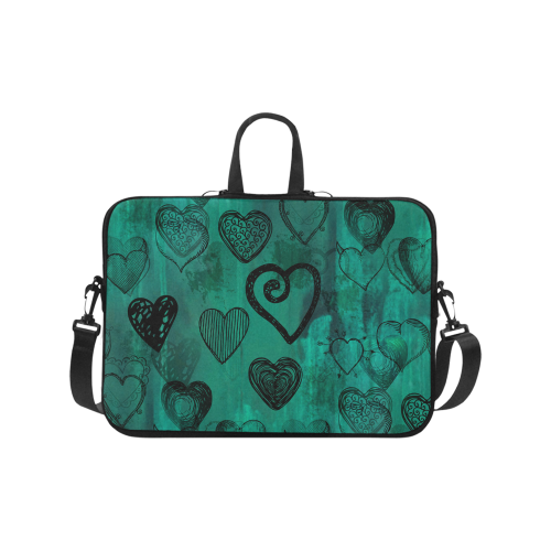 Turquoise Hearts Laptop Handbags 17""