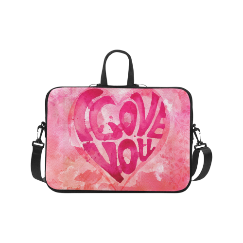 I Love You Watercolor Laptop Handbags 17""