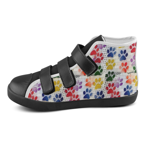 On silent paws by Nico Bielow Velcro High Top Canvas Kid's Shoes (Model 015)