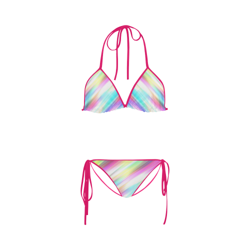 Rainbow Stripe Abstract Custom Bikini Swimsuit
